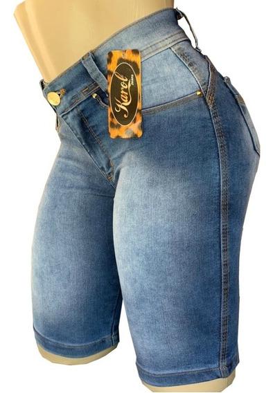 Bermuda Jeans Ciclista Feminina Cintura Alta