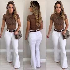 Calça Jeans Feminina Cintura Alta Flare Levanta Bumbum