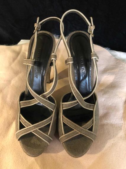 Zapatos Burberry 38eur 41/2mex Café Itaia Tacón Nuevos