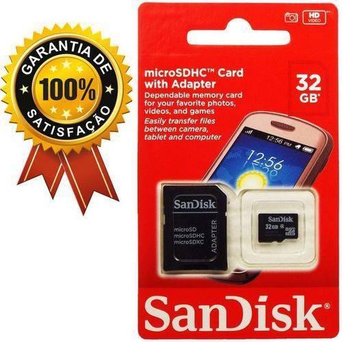 Cartão De Memória 32gb Cl4 + Adaptador Sandisk - Promoção