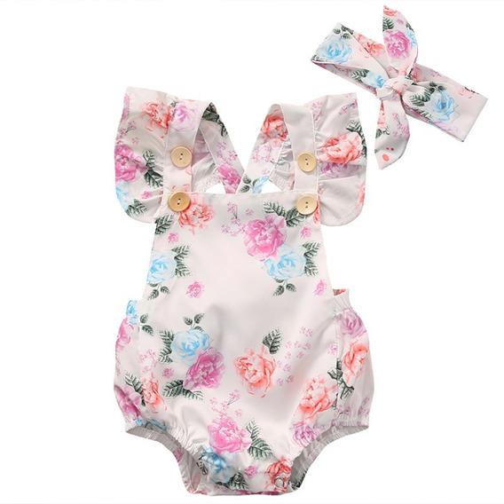 Roupa Infantil Bebê Body Floral Com Laço Cabelo Menina Baby