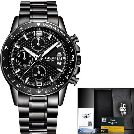 Relógio Masculino Aço Inox Original Lige 0002 Pronta Entrega