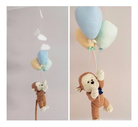 Móbile Bebê De Teto - Macaquinho E Balões