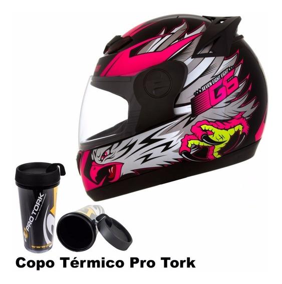 Capacete Fechado Pro Tork 788 G6 Eagle Feminino Rosa + Copo