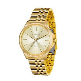 Relógio Lince Feminino Aço Dourado Visor Prata Lrg4428l S1kx