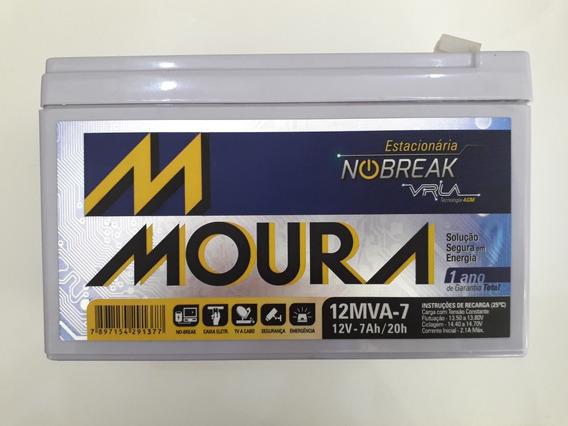 Acomulador 12v 7a Moura Para Alarme Cerca Elétrica E Nobreak