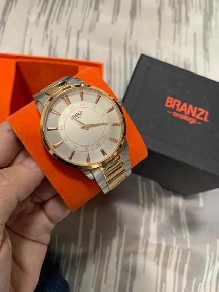 Reloj Branzi Para Hombre Original, Color Plata Con Oro Rosa