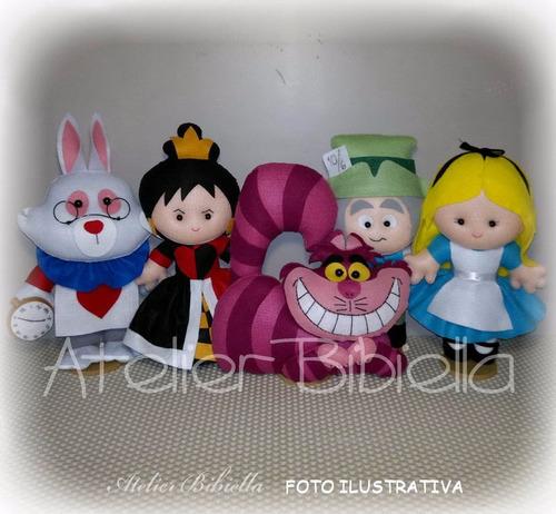 Alice No País Das Maravilhas - Kit 5 Personagens Feltro 30cm