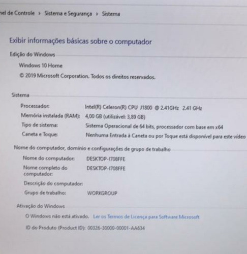 Windows 10 Home Intel Celeron J1300 2.41 Gh7 Ram 4.00 Gb Hd