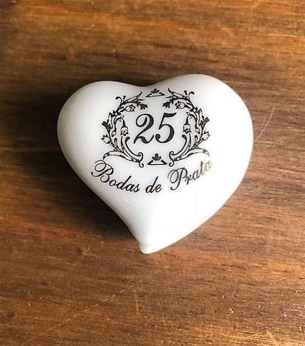 Imagem 1 de 7 de Kit 2 Porta-joias Coração Bodas Prata 25 Anos Casamento