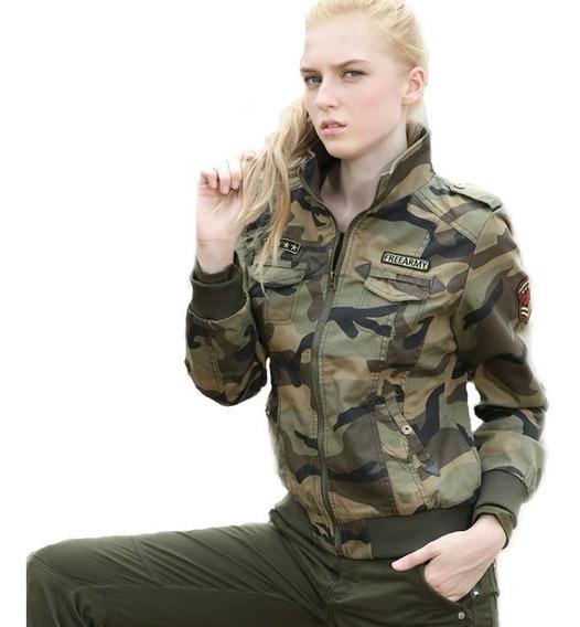 Jaqueta Camuflada Feminina Casaco Militar Slim Blusa Inverno