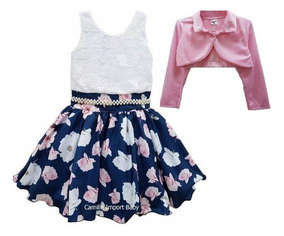 Vestido Floral Festa Luxo Infantil Borboleta 4 A 16 E Bolero