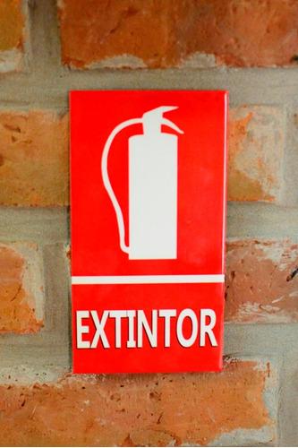 Cartel De Chapa Extintor / Matafuego- 15 X 9 Cm