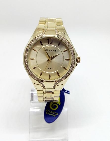 Relógio Atlantis Feminino Dourado Com Pedras