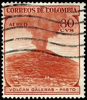 Estampilla 30 Ctvs Colombia Volcan Galeras Pasto