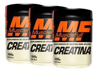 3x Creatina 300g Cada 0% Corante Muscle Full