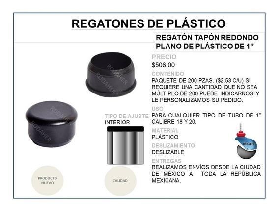 Regatón Tapón Redondo Plano De Plástico De 1 Paq. 200 Pzas.