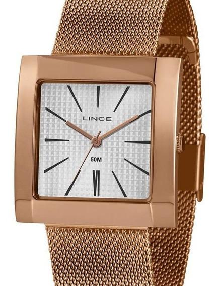 Relógio Lince Feminino Quadrado Rose Gold Lqr4664l B1rx