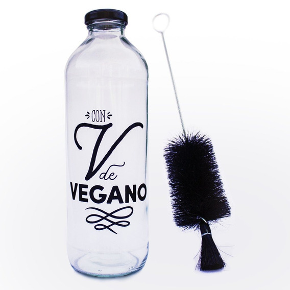 Kit Botella Con V De Vegano + Cepillo