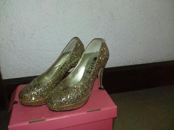 Zapatos Dorados De Fiesta.