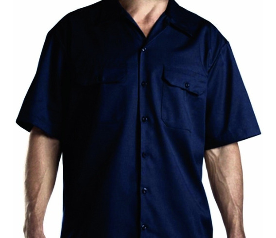 Camisa Mecânico Workshirt Garage Sem Estampa Azul Marinho