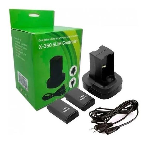 Carregador Duplo C/ 2 Baterias Controle Xbox 360 4800mah