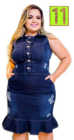 Vestido Jeans Plus Size Tamanho Grande Collect Leminsk Softh
