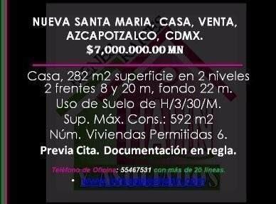 Nueva Santa Maria, Casa, Venta, Azcapotzalco, Cdmx.