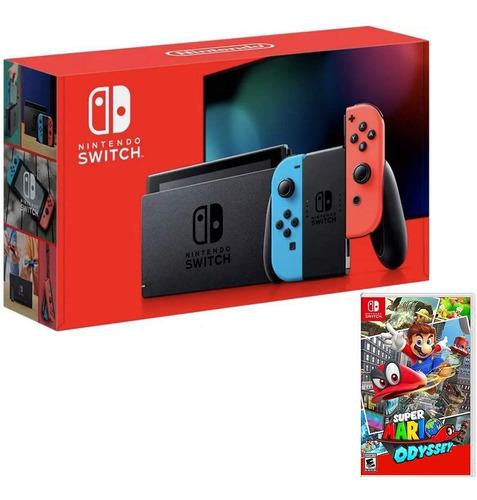 Consola Nintendo Switch Neon + Joycon L Y R + Mario Odyssey