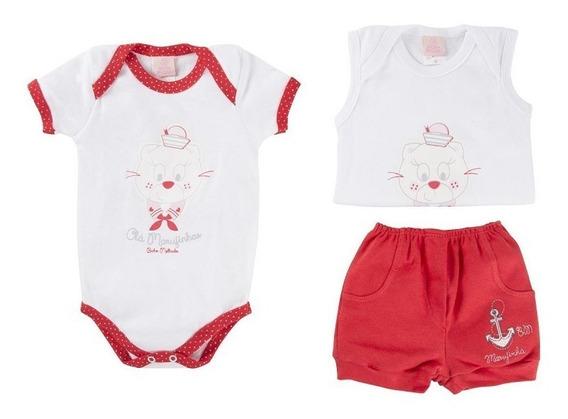 Conjunto Bebê Menina 3 Peças Body E Short Bicho Molhado