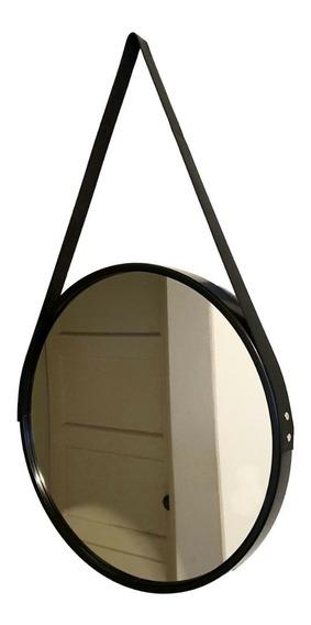 Espelho Adnet Redondo Com Alça 45 Cm Preto