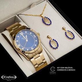 Relógio Champion Feminino Kit Corrente E Brinco Cn29910k