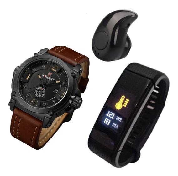 Kit Relógio Masculino + Smartwatch + Mini Fone Bluetooth