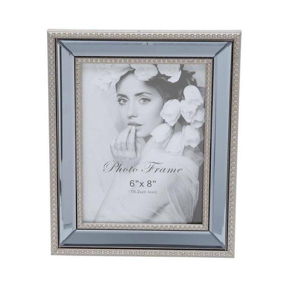 Porta Retrato Com Espelho 32cmx37cmx3cm Rojemac Prata H