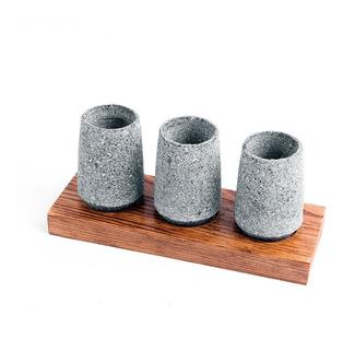 Juego 3 Mezcaleros/tequileros Artesanales Piedra Volcánica