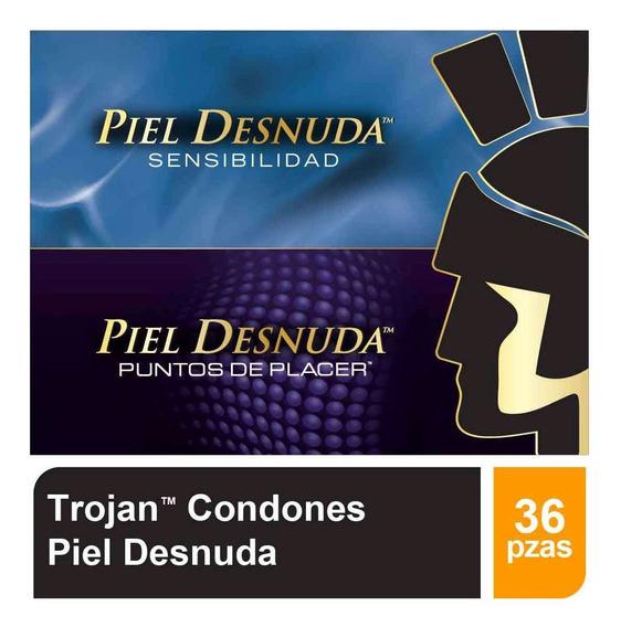 Kit Condones 4 Pack 9pza C/u Piel Desnuda 36pzas Trojan