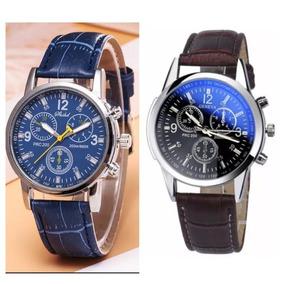 Kit 2 Relógio Masculino Geneva Pulso Social Pulseira Couro