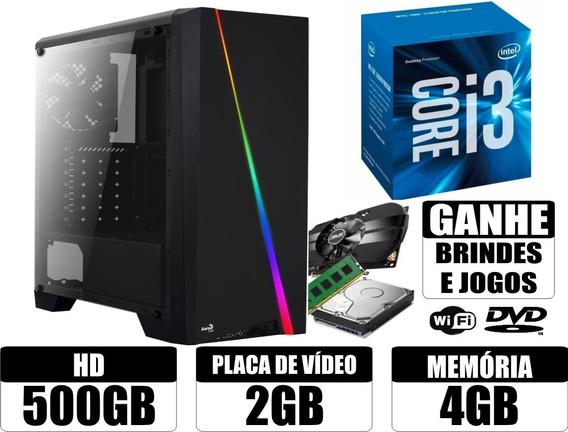 Pc Gamer Core I3 4gb 500gb Placa De Video 2gb Wi-fi + Brinde