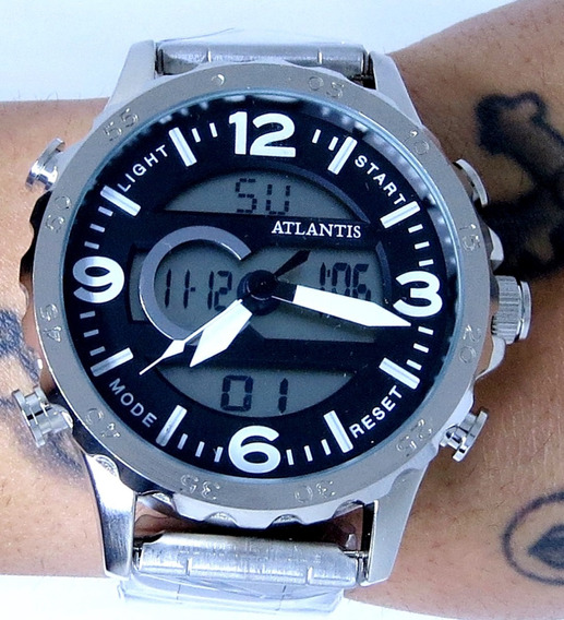 Relógio Aço Inox Prata Grande Venon Atlântis 2 Tempos 176