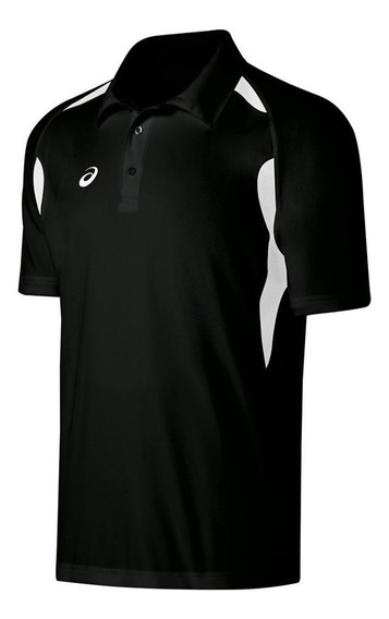 Playera Asics Resolution Polo Negro Deportiva