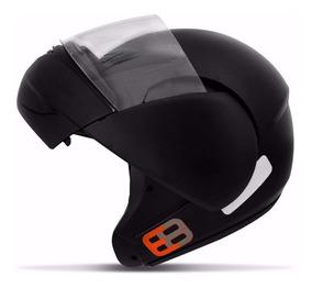 Capacete Moto Escamoteável Ebf E08 Robocop Preto Fosco 56