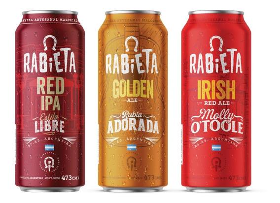 Combo 36 Latas 473cc Cerveza Rabieta Golden/red Ipa/irish
