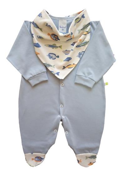 Macacão Bebê Menino Com Bandana 100% Algodão