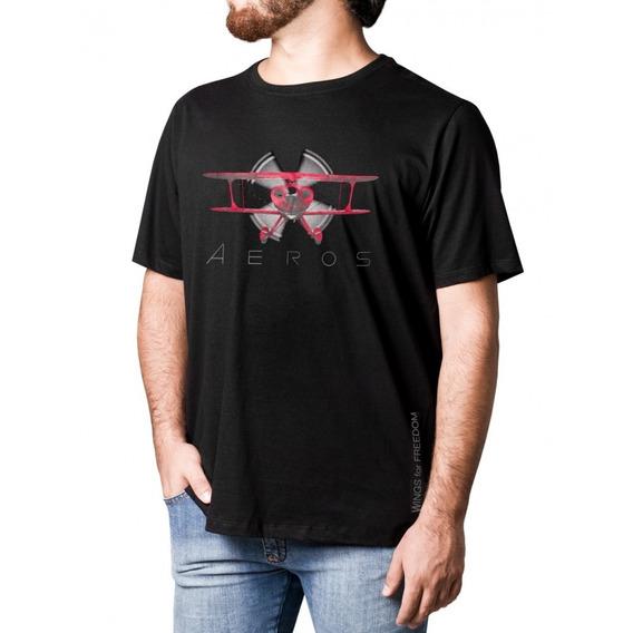 Camiseta Avião Pitts 52 Preta Tam Gg/m Aero Tshirt