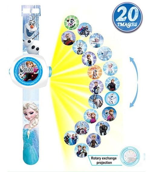 Relógio Infantil Elsa Frozen Disney Projetor 3d