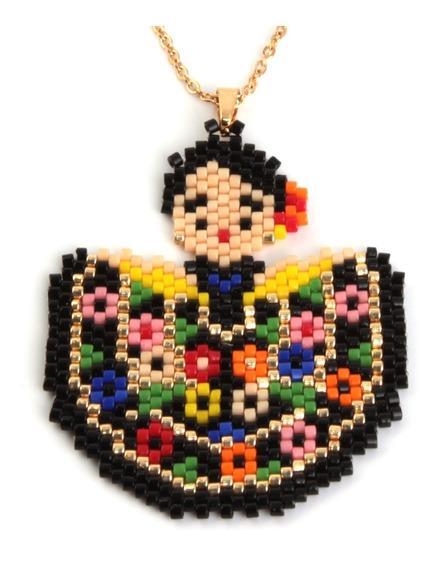 Collar Acero Dorado Traje Chiapas Lienzo Flores Mil Colores
