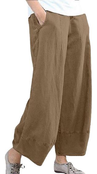 Calças Causal Elástico Na Cintura De Linho Cropped Wide Le