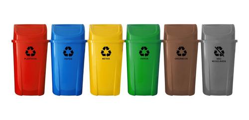 Imagem 1 de 10 de Kit 6 Lixeiras Plasticas Coleta Seletiva 60l Com Adesivo