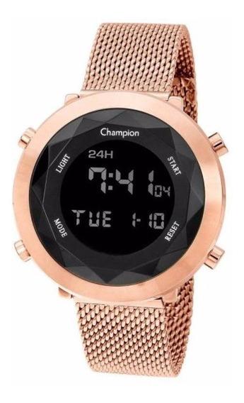 Relógio De Pulso Champion Digital Dourado Rose Vidro Lapidado Ch48028p