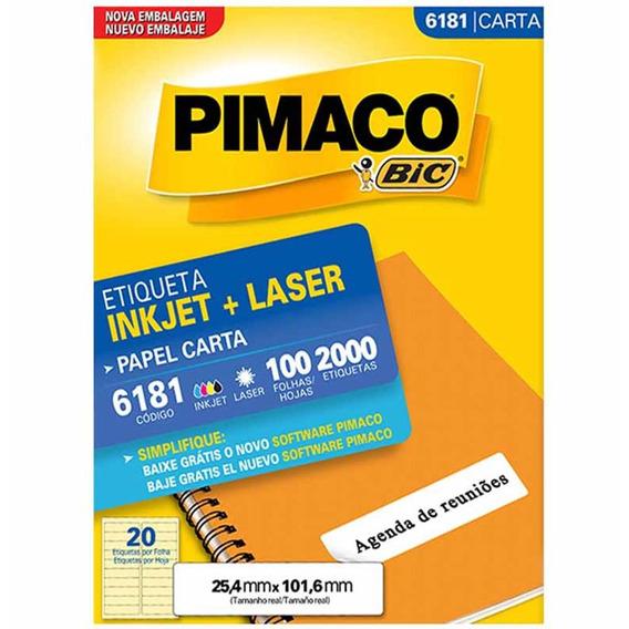 Etiqueta 6181 25x101mm 2col 2000un / 100fl / Pimaco